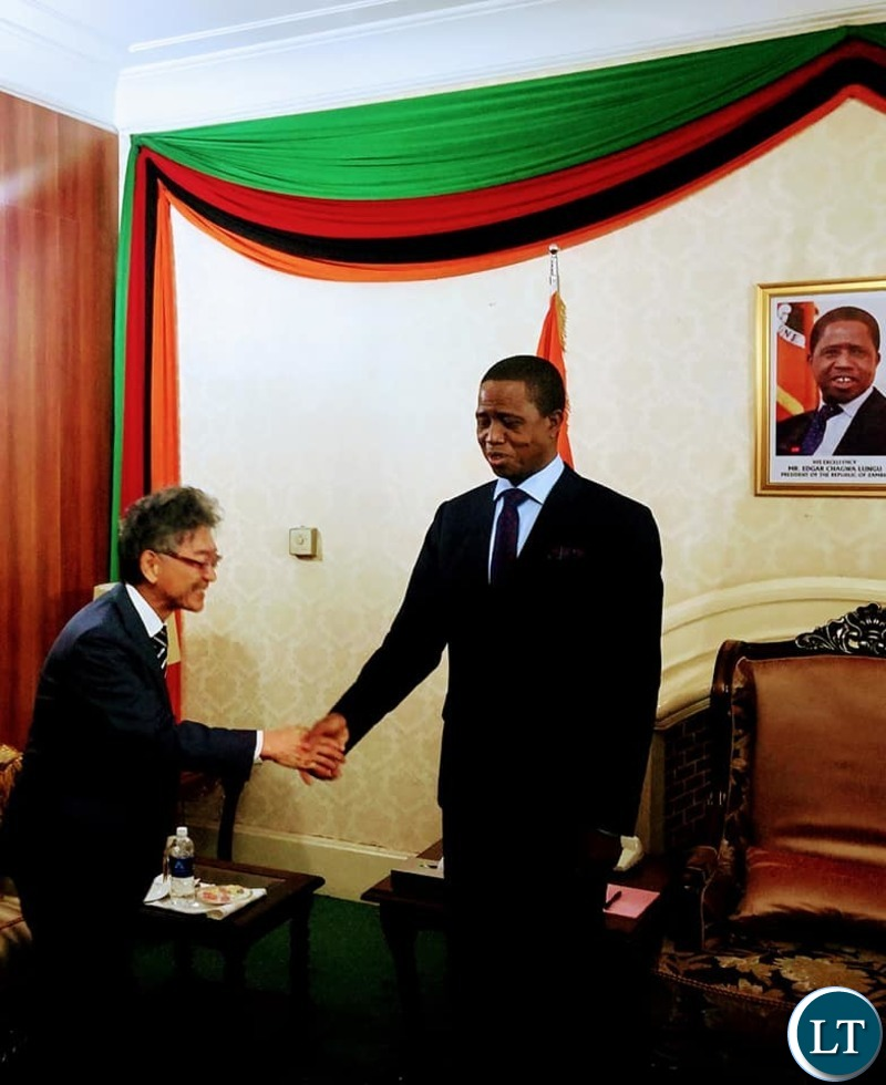President of the Republic of Zambia, His Excellency, Dr. Edgar Chagwa Lungu bids farewell to out going Japanese Ambassador Hidnobu Sobashima at State House on Tuesday
