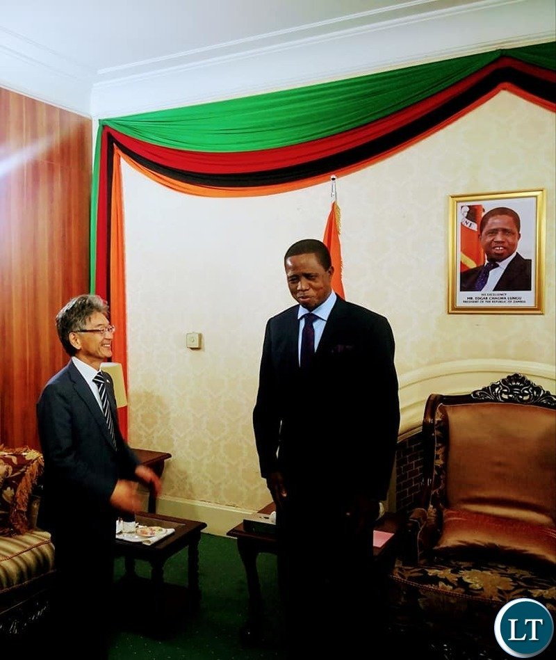 President of the Republic of Zambia, His Excellency, Dr. Edgar Chagwa Lungu bids farewell to out going Japanese Ambassador Hidnobu Sobashima at State House on Tuesday,,