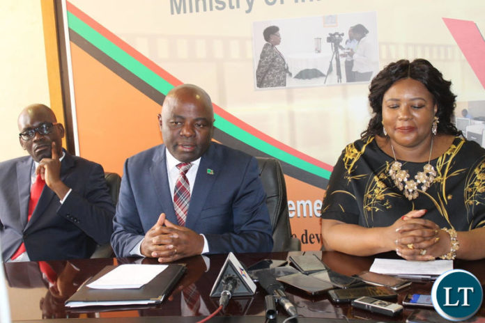 Chief Government Spokesperson Dora Siliya with Home Affairs Minister Stephen Kampyongo at a Joint Press Briefing