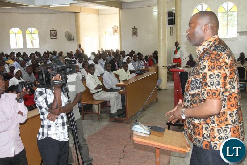 Kabushi Member of Parliament Bowman Lusambo addressed Parishioners at Holy Trinity Catholic Church in Masala, Ndola on Sunday.