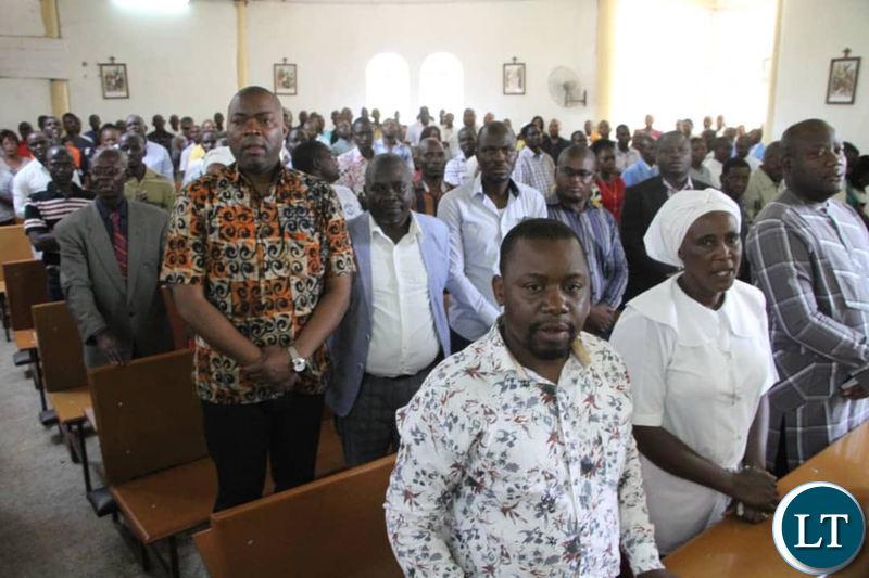 Kabushi Member of Parliament Bowman Lusambo attending Mass at Holy Trinity Catholic Church in Masala, Ndola on Sunday.