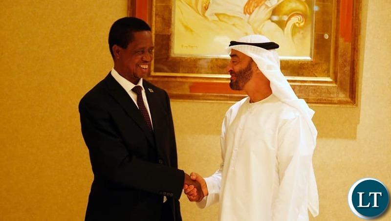 President Lungu with Abu Dhabi Fund for Development Director General, Mohammed Saif Al Suwaidi,