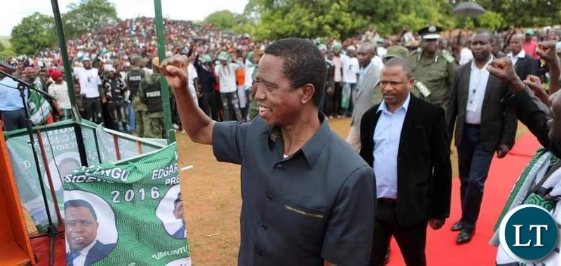 President Edgar Lungu arriving at a campaign Rally