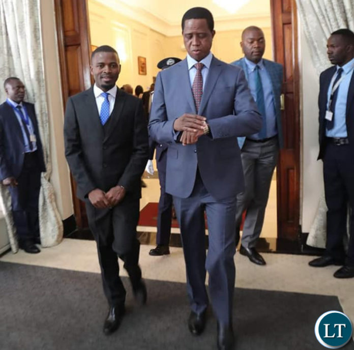 President Lungu with his new Special Assistant for Politics. Dr Chris Zumani Zimba during the swearing in Ceremony