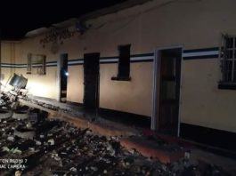 The vandalised Zambia Police Post in Chingola