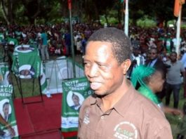 President Edgar Chagwa Lungu drums up support for the Patriotic Front (PF) Candidate Mulenga Fube in the February 13th Parliamentary by-election at Santa Maria Mission in Chilubi constituency, Northern Province.