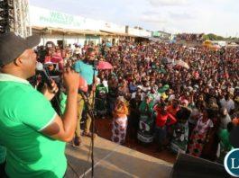 Kabushi Member of Paliament who is also Lusaka Provincial Minister Hon. Bowman Lusambo at a PF Rally in Ndola City