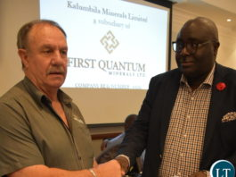 KALUMBILA Minerals Limited general manager Morris Rowe (left) shakes hands with National Union of Miners and Allied Workers (NUMAW) president James Chansa after the signing of the new conditions of service between the mine and three union representatives, the Mineworkers Union of Zambia (MUZ), United Miners' Union of Zambia(UMUZ) and NUMAW at Southern Sun Hotel in Lusaka on Thursday. – Picture by Memory Chipili/SUMA SYSTEMS