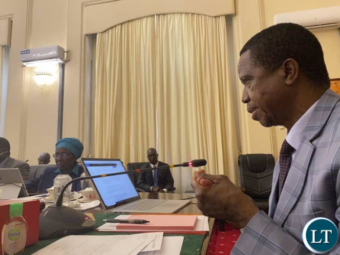 President Lungu addressing Cabinet at State House