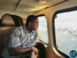 President Lungu flying over the flooded areas in Luapula, Muchinga and Northern Provinces.