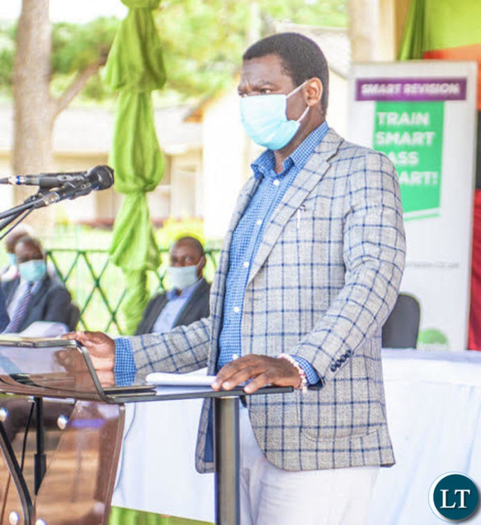 General Education Minister David Mabumba speaking during the launch of the e-Learning and Smart Revision portals in Kasama