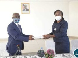 Luapula Province Minister Nickson Chilangwa with WCFCB Chief Executive Officer Priscilla Bwembya