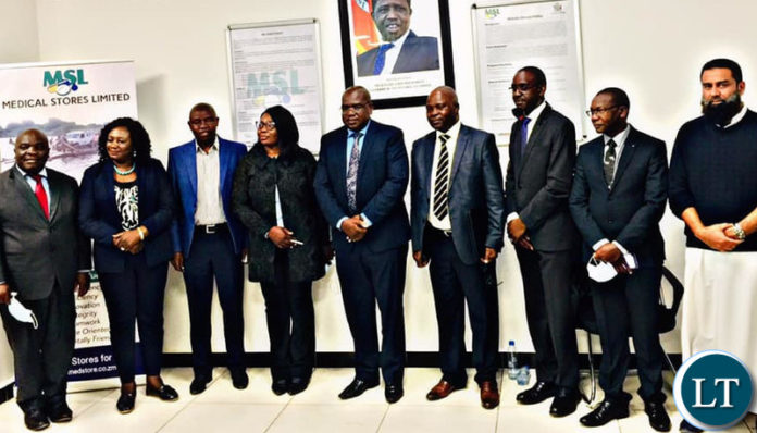 Dr Chilufya with the new Medical Stores Limited board of directors