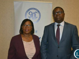 Dr Jane Ansah with Head of the SADC Electoral Observation mission to the 2019 Malawi general elections Joseph Malanji who is also Zambia's Foreign Affairs Minister