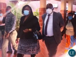 Health Minister Hon. Dr. Chitalu Chilufya arrives at court in the company of his wife Dr. Mutinta Mudenda Chilufya.