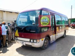 The 37 seater Rosa bus Donated to Pilgrim Wesleyan Church, John Howard congregation in Lusaka's Chawama constituency by HH.