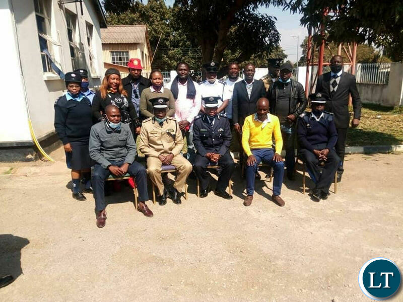 The Deputy Inspector of Police Mr Bonnie Kapeso with a delegation from the United Party for National Development led by its Deputy National Youth Chairman Gilbert Liswaniso