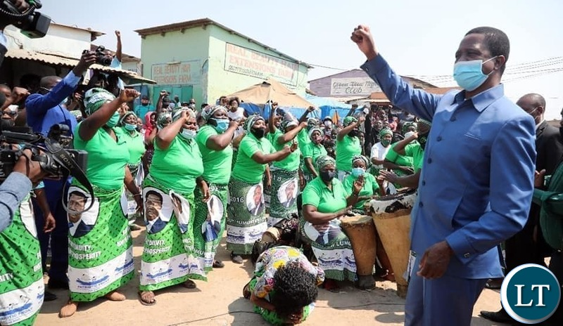 President Lungu Greeting PF Cadres Who went to Welcome him