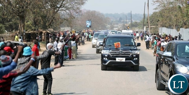 President EDGAR LUNGU when he made his way to Chifubu Market where he inspected developmental works on Sunday, August 16, 2020