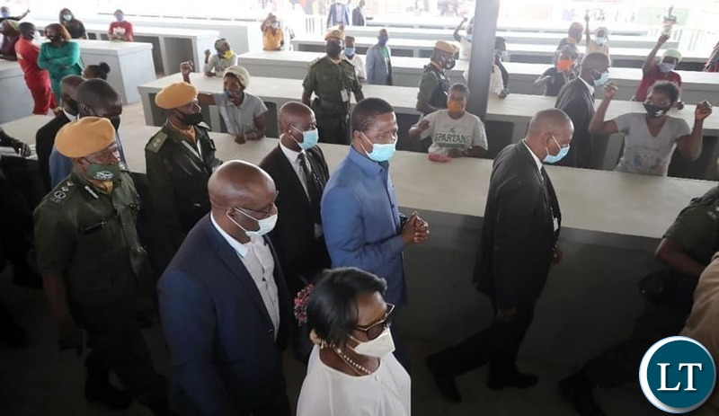 President Lungu Inspecting Stands at the Market