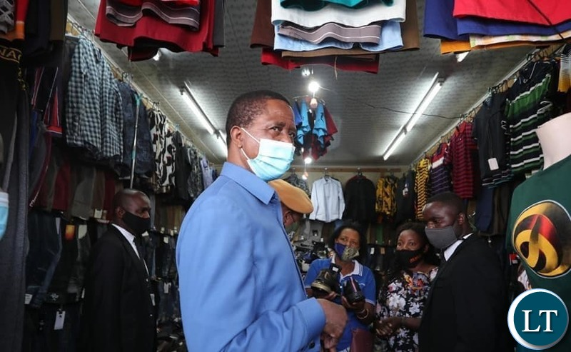 President Lungu at the Chifubu Market  stands