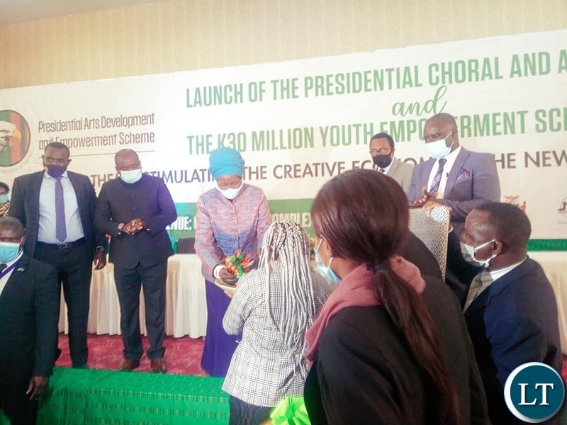 The Vice President Inonge Wina and Senior Government officials at the launched of the K 30 Million Presidential Youth Empowerment Fund Scheme