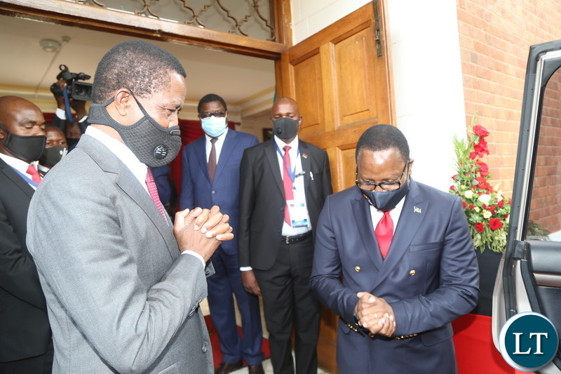 President Edgar Lungu seeing off his Malawian counterpart Dr.Lazarous Chakwera at State House