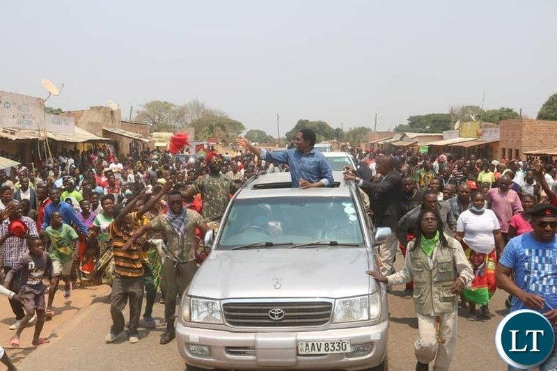 HH in Luapula Province on  his way  to Mwansabombwe, to drum up support for the party's  parliamentary by-election candidate Sunday Maluba.