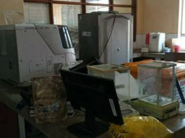 The micro-biology laboratory at Chipata Central Hospital that was completely destroyed including a power-bank and a specialist computer and printer.