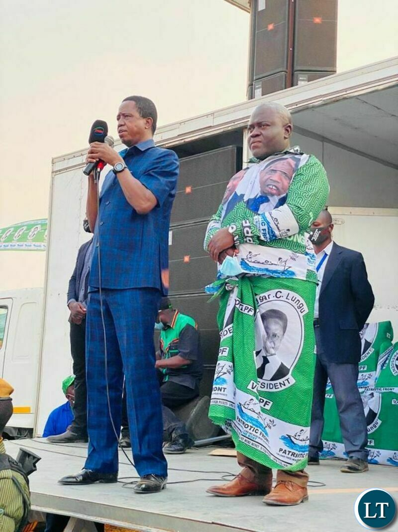 President Lungu at a rally to introduce the PF candidate
