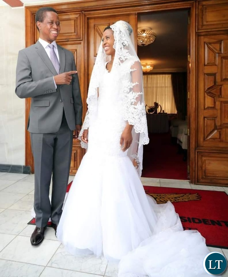 President Edgar  Lungu and Daughter Tasila  before going off for the Wedding ceremony