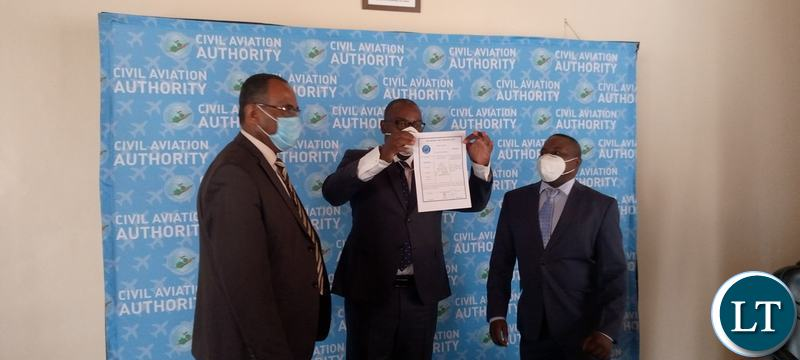 The Handing over of over the Air Operators Certificates to the Zambia Airways 2014 Limited as the company prepares to relaunch.
