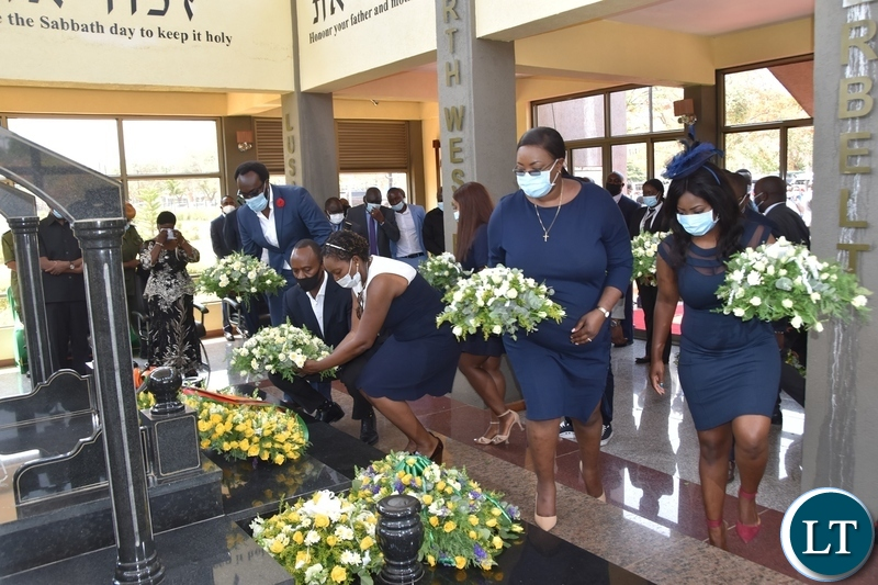 Children of the Late President Sata laying wreaths at the tomb during the Sata memorial service at Embassy park. Wednesday, October 28, 2020.Picture By ROYD SIBAJENE/ZANIS