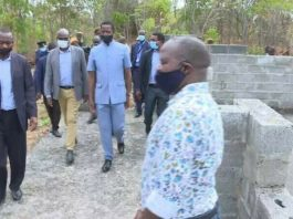 President Lungu Inspecting the stalled works at Masangano Boarding Secondary School in Masaiti district on the Copperbelt.