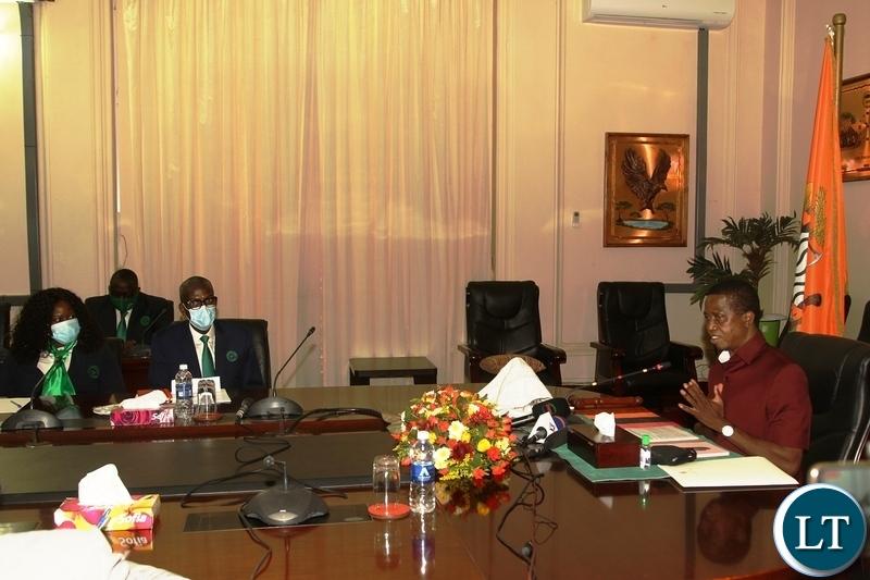 President Edgar Lungu speaking when he met the Engineers institute of Zambia members at State House