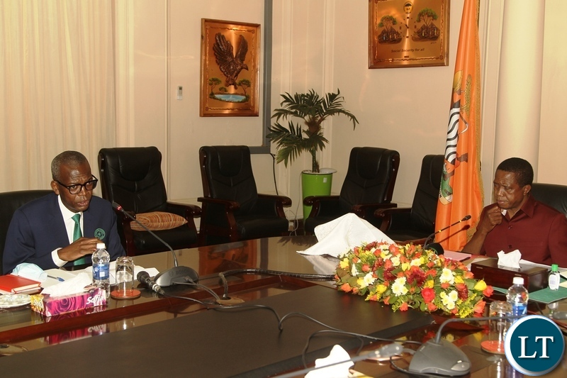Engineers Institute of Zambia president Eng Abel Ngandu speaking during a meeting with President Edgar Lungu at State House