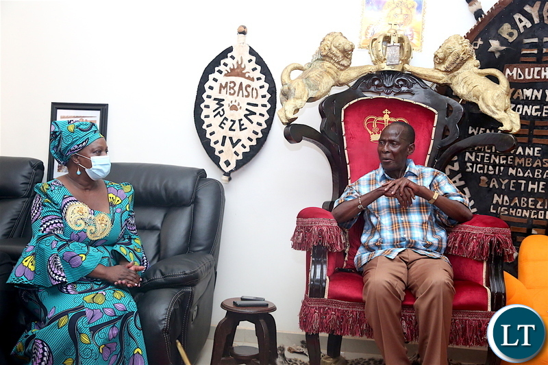 First Lady Esther Lungu pays a Courtesy call on Paramount Chief Mpezeni at Ependukeni palace in Chipata.The First Lady will be the guest of honour at the 50th Anniversary of the Catholic Theresian Sisters in Zambia-Pictures by THOMAS NSAMA