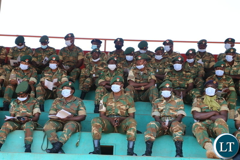 -Zambia Army personal following the proceeding during the National day of prayer Clergy men following the proceedings during the National day of prayer theme: Zambia seeks God's intervation for sustained national unity, peace and prosperity in Chipata October 18, 2020. Picture by ROYD SIBAJENE/ZANIS