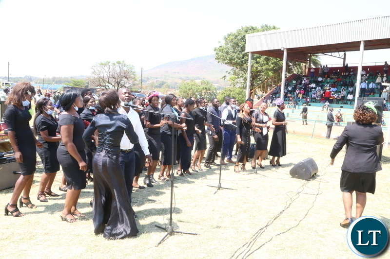 Cambine Eastern Province Chair singing during the National day of prayer theme: Zambia seeks God's intervation for sustained national unity, peace and prosperity in Chipata. Sunday 18, 2020. Picture by ROYD SIBAJENE/ ZANIS