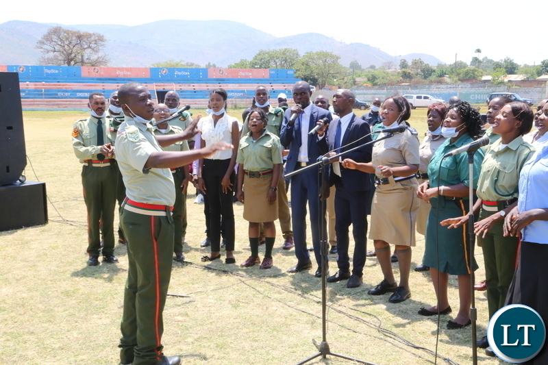 Defence and Security chair of Eastern Province singing during the National day of prayer theme: Zambia seeks God's intervation for sustained national unity, peace and prosperity in Chipata. Sunday 18, 2020. Picture by ROYD SIBAJENE/ ZANIS