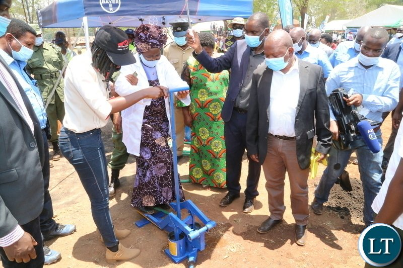 Vice President Inonge Wina pumping water using a trendor pump during the launch of Msekera Regional Soils Laboratory in Chipata District. Saturday 17, 2020. Picture by ROYD SIBAJENE/ZANIS