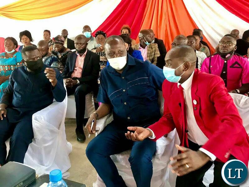 Felix Mutati , Kelvin Bwalya Fube KBF and Harry Kalaba at the Church Service