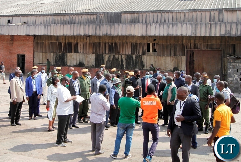 President Edgar Lungu when he toured the factory before addressing the former workers.