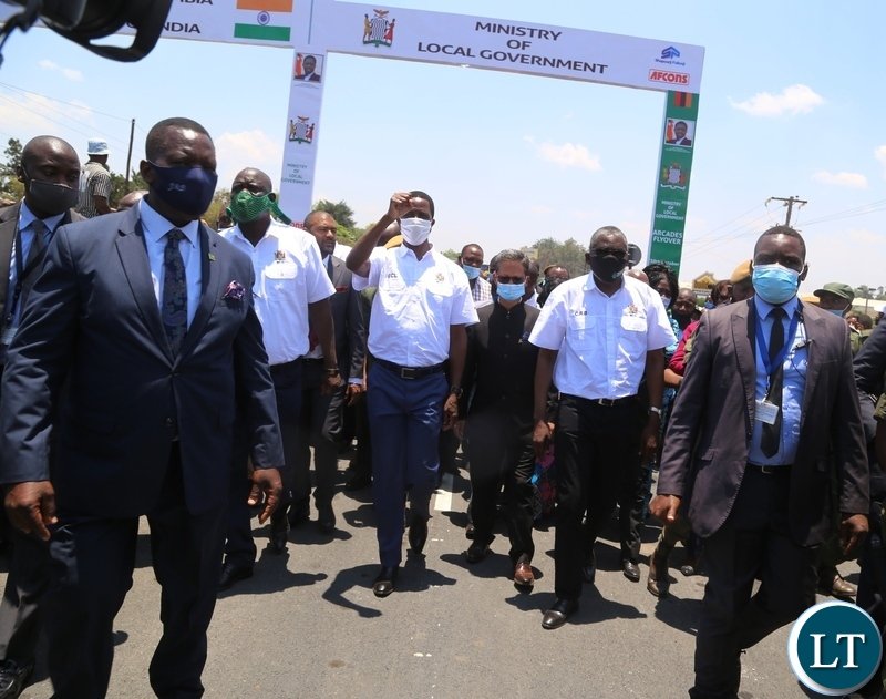 President Edgar Lungu poses for the group photo with some of his Ministers, India's high commissioner to Zambia and other officials after commissioning the Arcades fly-over Bridge. Picture by SUNDAY BWALYA/ZANIS