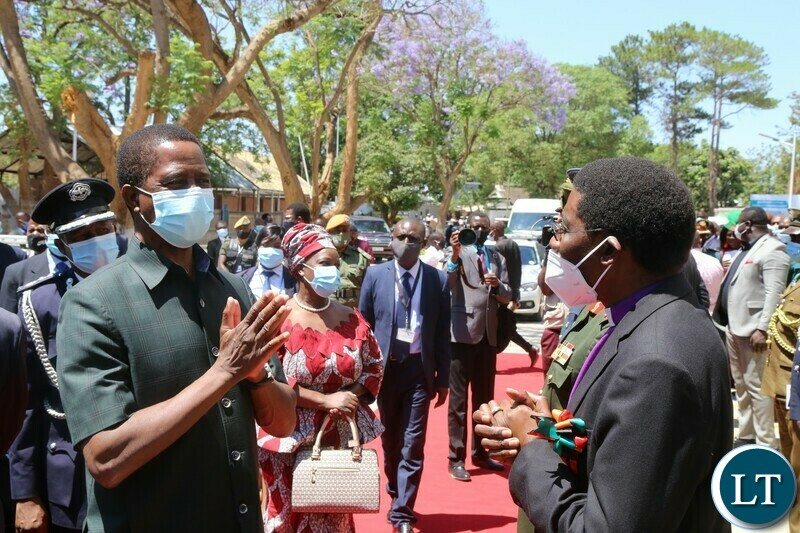President Edgar Lungu speaks with Northmead Assembly of God Bishop Joshua Banda shortly after  National Day of Prayer, Fasting, Repentance and Reconciliation at Lusaka Showgrounds on Sunday, 18th October, 2020 -Pictures By THOMAS NSAMA/STATE HOUSE