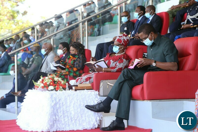 President Edgar Lungu with First Lady Esther Lungu reading Bible's during the commemoration of the National Day of Prayer,Fasting and reconciliation in the Show Grounds yesterday