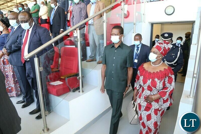President Edgar Lungu with First Lady Esther arrives in the pavilion during the Commemoration of the National Day of Prayer,Fasting and reconciliation in the Show Grounds yesterday