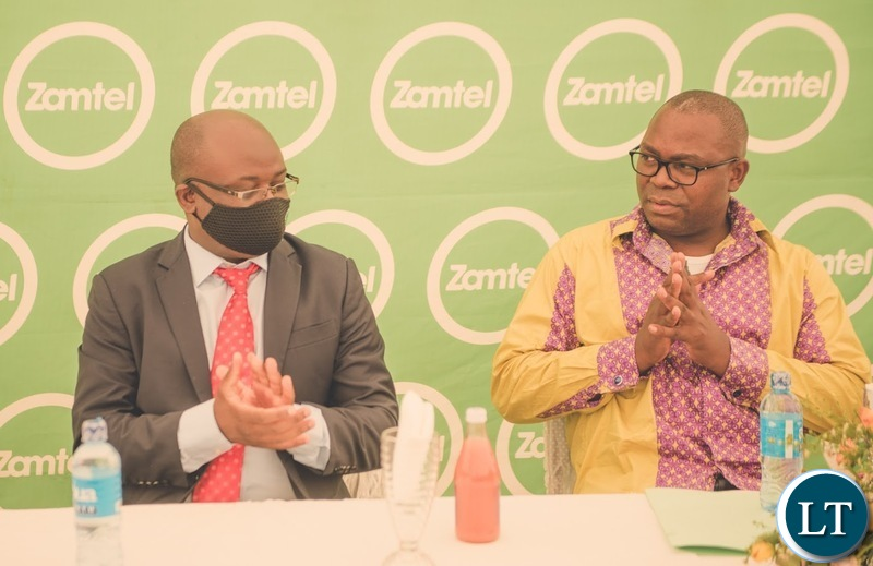 Zamtel CEO Sydney Mupeta and Transport and Communications Minister Mutotye Kafwaya at the launch of the Chimbilima communications site in Chama