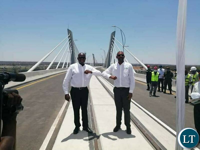 Housing and Infrastructure Development Minister Vincent Mwale and his Botswana counterpart Thulangano Segokgo at the final inspection of the Kazungual Bridge