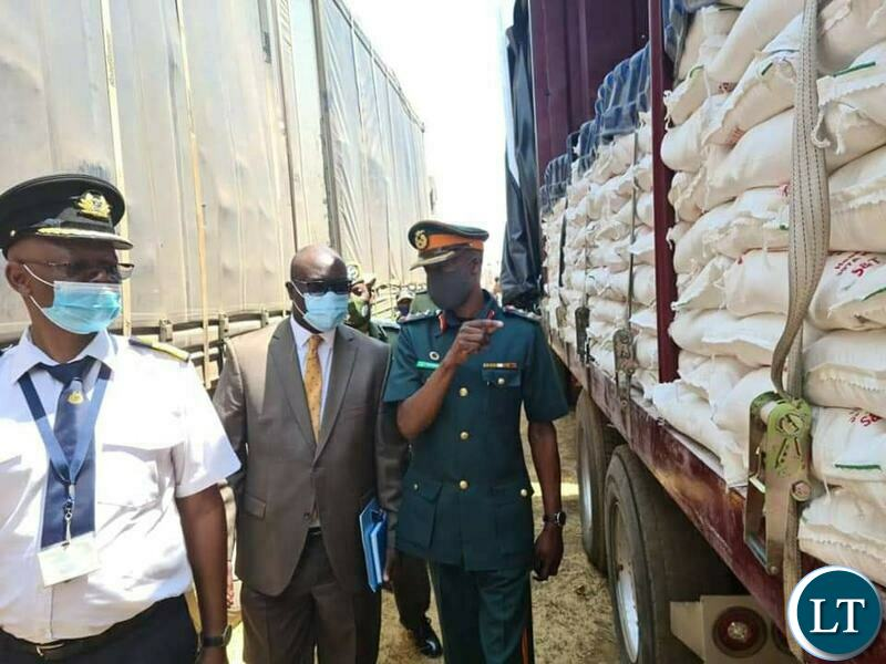The impounded truck carrying 1200 bags of mealie meal which was about to be smuggled into the Democratic Republic of Congo (DRC)